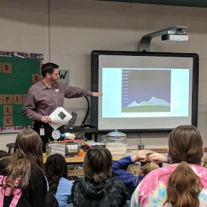 Demonstrating science for the McPherson 5th graders.